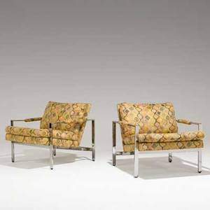Milo baughman thayer coggin pair of lounge chairs usa 1970s chromedsteel and tapestry fabric labels 28 x 29 x 32