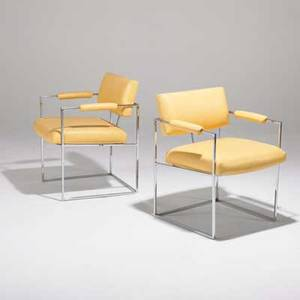Milo baughman thayer coggin pair of armchairs usa 1970s chromed steel and leatherette unmarked 30 x 23 x 24
