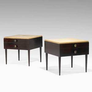 Paul frankl johnson furniture co pair of nightstands usa 1940s mahogany lacquered cork and brass branded and metal tag 23 14 x 25 14 x 24