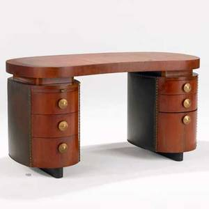 Gilbert rohde herman miller doublepedestal desk usa 1940s paldao leatherette and brass unmarked 29 12 x 56 14 x 28