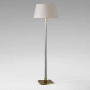 Hansen floor lamp usa 1960s crystal brass enameled metal linen stamped manufacturers mark 51 x 16