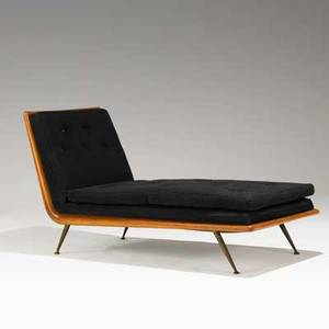 Th robsjohngibbings widdicomb chaise longue usa 1950s mahogany brass and wool unmarked 33 x 62 x 26