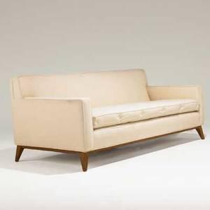Th robsjohngibbings widdicomb threeseat sofa usa 1940s mahogany and wool unmarked 31 x 74 x 37