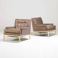 Th robsjohngibbings widdicomb pair of lounge chairs usa 1950s leather and lacquered wood unmarked 29 12 x 30 x 36