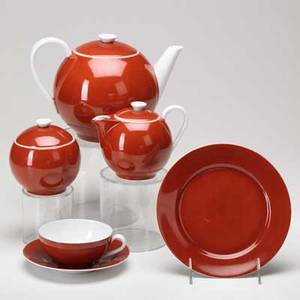 Ladislav sutnar druzstevni prace approximately 15piece tea set czechoslovakia 1930s together with several issues of panorama magazine one of them advertising this set czecholslovakia 1930s r