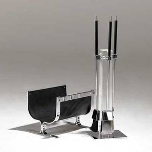 Alessandro albrizzi set of fireplace tools and log holder italy 1960s acrylic saddle leather and chrome unmarked fireplace tools 35 x 10 x 8 12 log holder 11 34 x 16 x 12 12