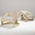 Joe colombo kartell pair of lounge chairs italy 1960s painted laminated wood stamped with numbers 23 x 28 x 26 12