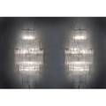 Camer pair of large sconces italy 1960s crystal and enameled steel unmarked 48 x 24 x 12