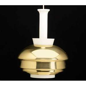 Alvar aalto valaisinpaja oy hanging light fixture finland 1950s bright brass and white enamel two labels fixture 15 12 x 11 12 to ceiling 52