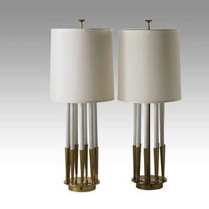 Tommi parzinger attr stiffel pair of table lamps usa 1960s brass enameled metal and linen unmarked 48 x 18 dia