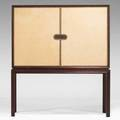 Tommi parzinger charak modern twodoor cabinet usa 1950s leather mahogany and brass 55 x 48 x 17