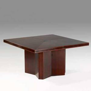 Tommi parzinger parzinger originals dining table with extensions usa 1950s ebonyinlaid mahogany unmarked 29 12 x 54 sq each insert 18