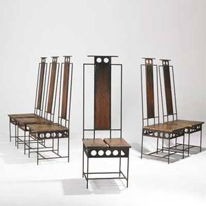 Harry balmer flemington iron works set of six dining chairs usa 1960s wrought iron and spruce unmarked 51 12 x 17 x 22