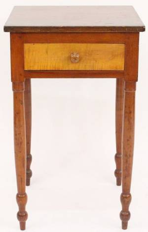Mid 19th C Cherry  Maple One Drawer Stand