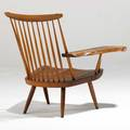 George nakashima lounge chair with one arm usa american black walnut and hickory authenticated by mira nakashima unsigned 33 x 31 x 28