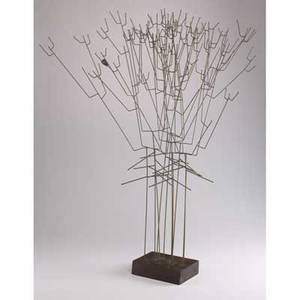 John risley table sculpture last leaf usa ca 1972 brass rods on wooden base provenance from the artists family unmarked 38 x 26 x 18