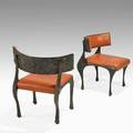 Paul evans directional pair of sculpted bronze side chairs usa 1970s bronze composite metal leatherette and brass unmarked 32 x 29 x 26