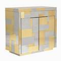 Paul evans directional cityscape fliptop bar cabinet usa 1970s chromed steel brass laminate stamped mark 35 14 x 36 x 18 14