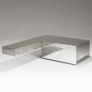 Paul evans directional cityscape cantilevered coffee table usa 1970s chromedsteel signed 16 x 60 x 48