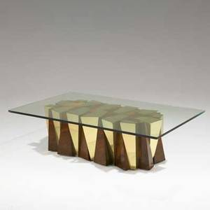 Paul evans directional faceted low table usa 1970s walnut burl brass and glass unmarked 16 x 60 x 36
