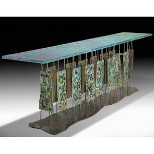 Philip and kelvin laverne unique console table usa 1962 patinated polychrome bronze provenance commissioned by the consignor from the artist signed and dated 33 x 95 12 x 23