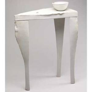 Paula winokur unglazed porcelain sculpture table with bowl series ii 1987 signed and dated 29 x 22 x 10 12