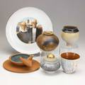 Studio pottery seven vessels include howard kottler plate henry varnum poor cup 1940 two geoffrey swindell porcelain vessels and martin smith some signed plate 10 14