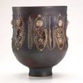 Scheier large glazed earthenware vessel with primitive figures usa ca 1994 signed and dated 13 34 x 12