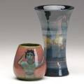 Pillin two glazed ceramic vases both signed 7 x 4 and 3 12 x 3 14