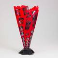 Robert wynne red canvas vase blown overlayed and coldworked glass and metal signed 20 34 x 10 12 x 5