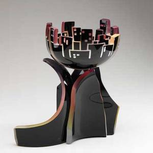 Concetta mason twopiece glass sculpture urban twilight 1991 signed dated and titled 14 12 x 9