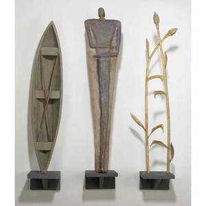 Robin grebe three piece sculpture static gesture ca 1989 glass and mixed media provenance collection of paul stankard signed and dated tallest 38 x 25 12 x 8