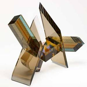 Michael taylor sculpture kanazawa core to bar balance 16 1989 fused glass cast optical and copper wire unsigned 17 x 20 x 12