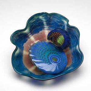 Dale chihuly threepiece seaform set usa ca 1985 blown glass provenance collection of jean heilbrunn habatat galleries detroit mi signed and dated largest 6 x 13 x 12 3 14 x 3 34