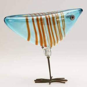 Alessandro pianon vistosi pulcini bird sculpture italy 1960s glass patinated copper murano gold paper label 7 14 x 8
