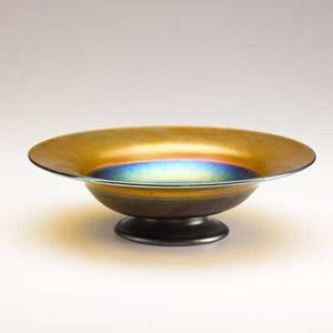 Tiffany studios gold and blue favrile footed bowl etched lc tiffanyfavrile s 2 34 x 9 34