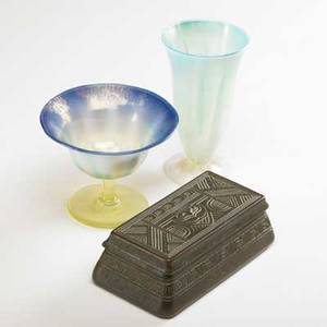 Tiffany studios two favrile glass pastel vessels together with a hinged bronze box with owl vase marked lct favrile 1904 sherbert marked lct favrile 4294 box marked tiffany studios new york