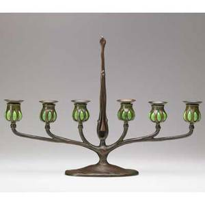 Tiffany studios sixarm candelabrum 1910 patinated bronze and favrile glass stamped tiffany studiosnew york1290s746 15 14 x 22 x 4 12