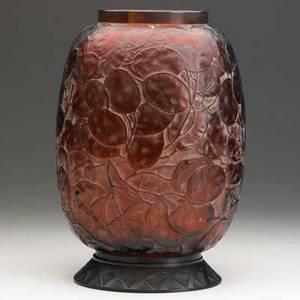 Lalique monnaie du pape vase c 1914 amber glass with white patina patinated bronze base m p 416 no 897 stamped r lalique vase 9 14 x 6 12