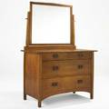 Harvey ellis gustav stickley mirrored chest of drawers red decal 66 x 48 x 22