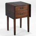 Gustav stickley dropleaf sewing table or night stand red decal 28 x 18 34 x 18 closed 42 open