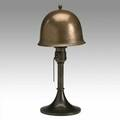 Roycroft brasswashed hammered copper boudoir lamp orb and cross mark 14 x 6