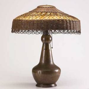Stickley brothers attr table lamp hammered copper and wicker 22 x 18