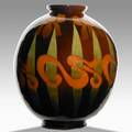 Owens exceptional large utopian vase with irises stamped utopian jb owens 787 12 12 x 10