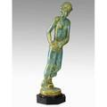 Fulper rare tall figurine turquoise cystalline glaze on ebonized pedestal base hides mark figurine 30 x 8 with base 32 14