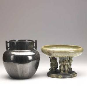 Fulper effigy bowl and two handled vase in mirror black glaze vertical marks 7 x 10 12 and 9 x 8 12