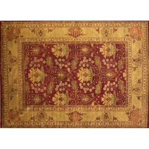 Style of william morris contemporary roomsize rug with geometric floral pattern in amber and cherry unsigned 101 x 14