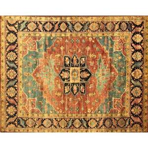 Agra serapi contemporary roomsize rug with geometric floral medallion orange blue and yellow unsigned 8 x 101