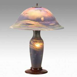 H fisher pairpoint table lamp with sailboats and seagulls acidetched glass base and shade base and shade stamped pairpoint shade signed h fisher 25 x 19 34