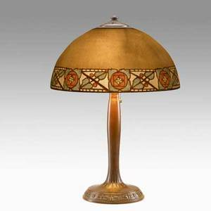 Handel table lamp obverse painted arts  crafts pattern bronze and etched milk glass shade stamped and signed 23 x 16